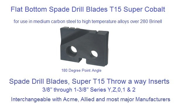 Spade Drill Blades T15 Flat Bottom 180 Degree Point Throw-A-Way 3/8 -1-3/8