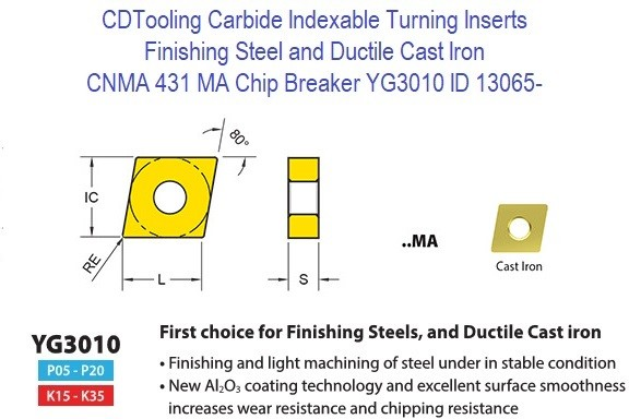 CNMA 431, MA Chip Breaker, Grade YG3010, Carbide Insert for Finishing Steels, Ductile Cast Iron - 10 Pack ID 13065-