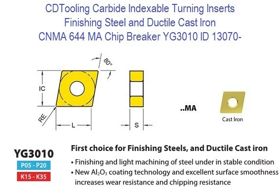 CNMA 644, MA Chip Breaker, Grade YG3010, Carbide Insert for Finishing Steels, Ductile Cast Iron - 10 Pack ID 13070-