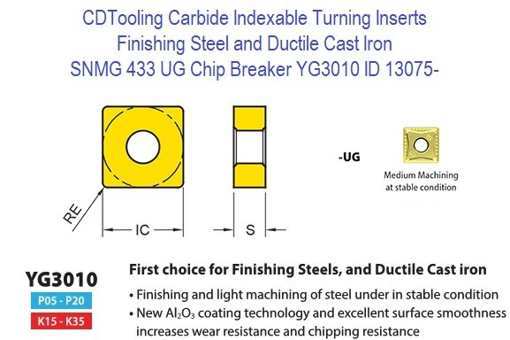 SNMG 433, UG, Chip Breaker, Grade YG3010, Carbide Insert for Finishing Steels, Ductile Cast Iron - 10 Pack ID 13075-