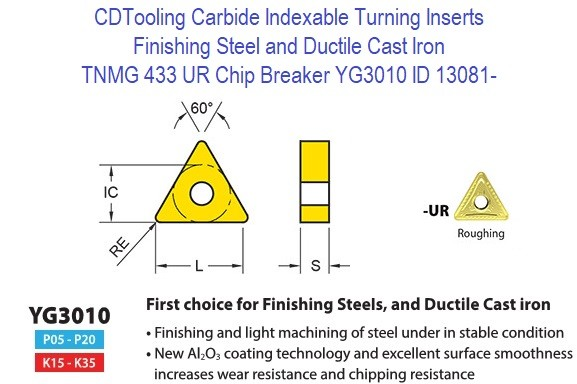 TNMG 433, UR Chip Breaker, Grade YG3010, Carbide Insert for Finishing Steels, Ductile Cast Iron - 10 Pack ID 13081-