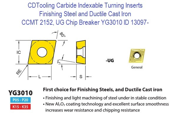 CCMT 2152, UG Chip Breaker, Grade YG3010, Carbide Insert for Finishing Steels, Ductile Cast Iron - 10 Pack ID 13097-