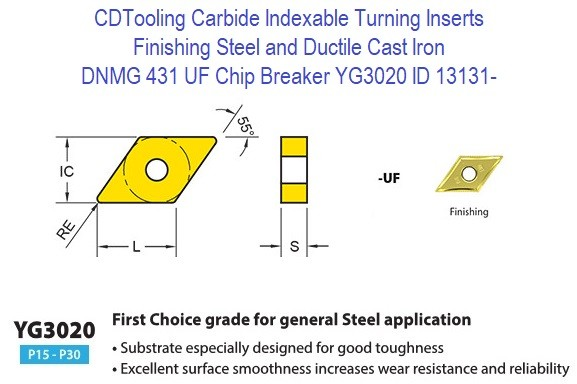 DNMG 431, UF Chip Breaker, Grade YG3020, Carbide Insert for Finishing Steels, Ductile Cast Iron - 10 Pack ID 13131-