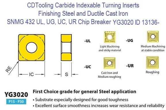 SNMG 432, UL, UG, UC, UR Chip Breaker, Grade YG3020, Carbide Insert for Finishing Steels, Ductile Cast Iron - 10 Pack ID 13136-