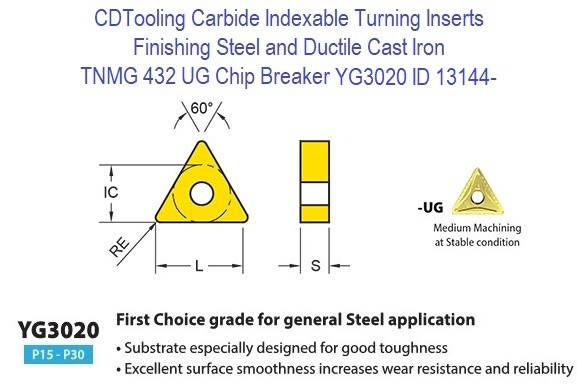 TNMG 432, UG Chip Breaker, Grade YG3020, Carbide Insert for Finishing Steels, Ductile Cast Iron - 10 Pack ID 13144-