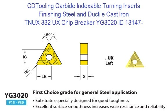 TNUX 332, UX Chip Breaker, Grade YG3020, Carbide Insert for Finishing Steels, Ductile Cast Iron - 10 Pack ID 13147-