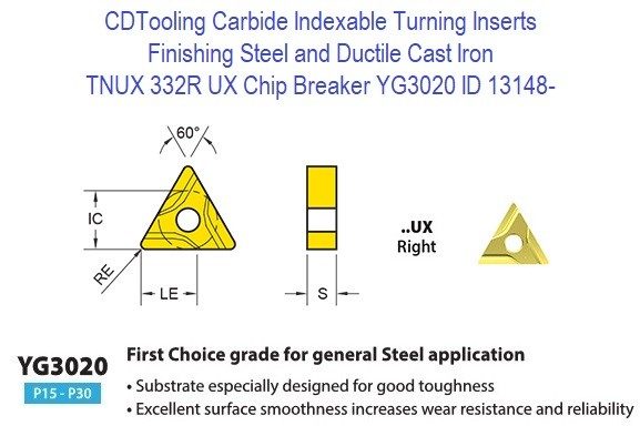 TNUX 332R, UX Chip Breaker, Grade YG3020, Carbide Insert for Finishing Steels, Ductile Cast Iron - 10 Pack ID 13148-