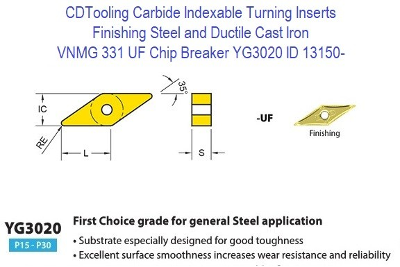 VNMG 331, UF Chip Breaker, Grade YG3020, Carbide Insert for Finishing Steels, Ductile Cast Iron - 10 Pack ID 13150-