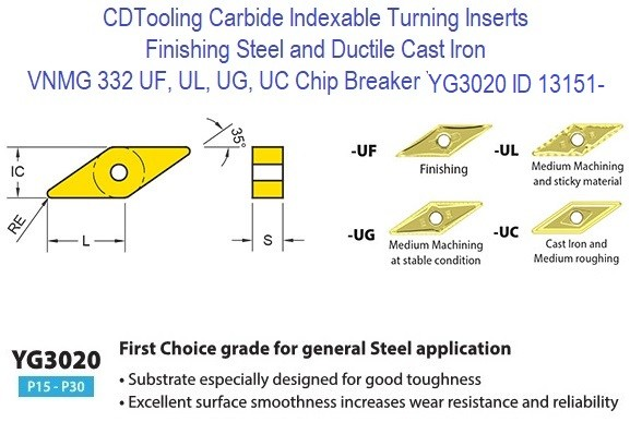 VNMG 332, UF, UL,  UG, UC Chip Breaker, Grade YG3020, Carbide Insert for Finishing Steels, Ductile Cast Iron - 10 Pack ID 13151-