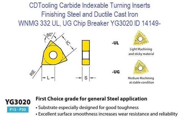 CNMG120408-UR YG3020 Carbide Insert CVD-TiCN+Al2O3 Coated Details about  /10pcs  CNMG432-UR
