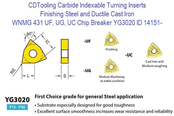 WNMG 431, UF,  UG, UC Chip Breaker, Grade YG3020, Carbide Insert for Finishing Steels, Ductile Cast Iron - 10 Pack ID 14151-