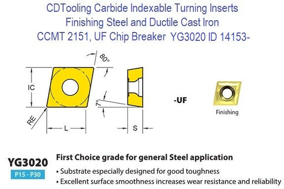 CCMT 2151, UF Chip Breaker, Grade YG3020, Carbide Insert for Finishing Steels, Ductile Cast Iron - 10 Pack ID 14153-