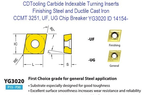 CCMT 3251, UF, UG Chip Breaker, Grade YG3020, Carbide Insert for Finishing Steels, Ductile Cast Iron - 10 Pack ID 14154-