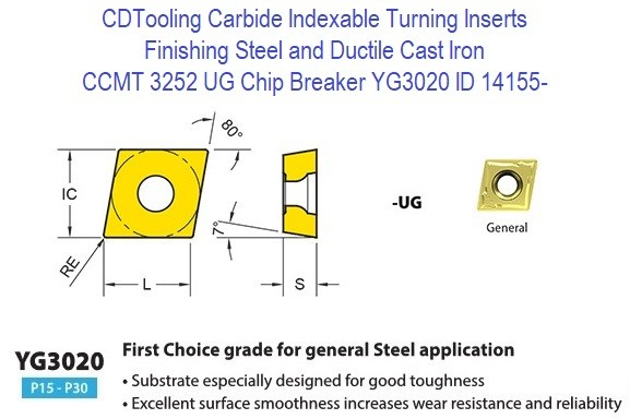 CCMT 3252, UG Chip Breaker, Grade YG3020, Carbide Insert for Finishing Steels, Ductile Cast Iron - 10 Pack ID 14155-