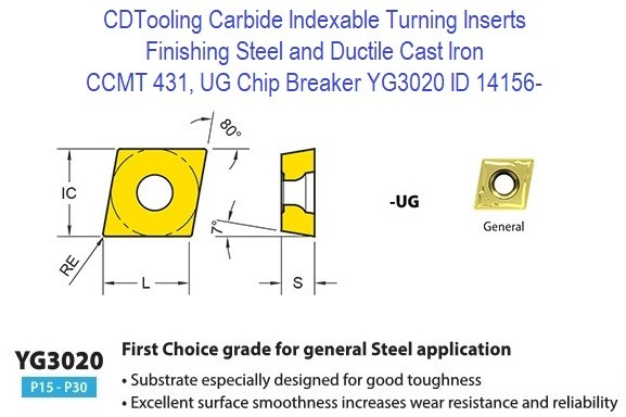 CCMT 431, UG Chip Breaker, Grade YG3020, Carbide Insert for Finishing Steels, Ductile Cast Iron - 10 Pack ID 14156-