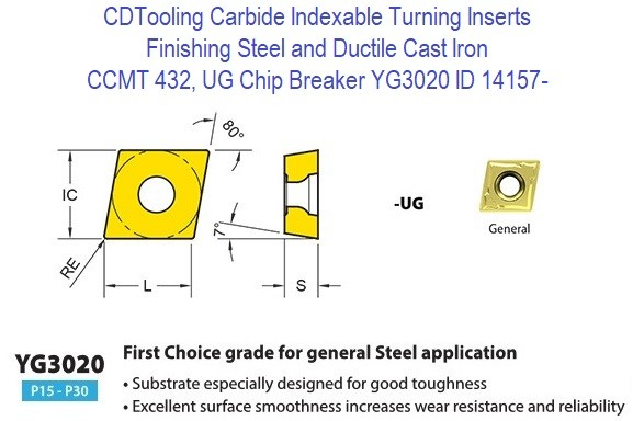 CCMT 432, UG Chip Breaker, Grade YG3020, Carbide Insert for Finishing Steels, Ductile Cast Iron - 10 Pack ID 14157-