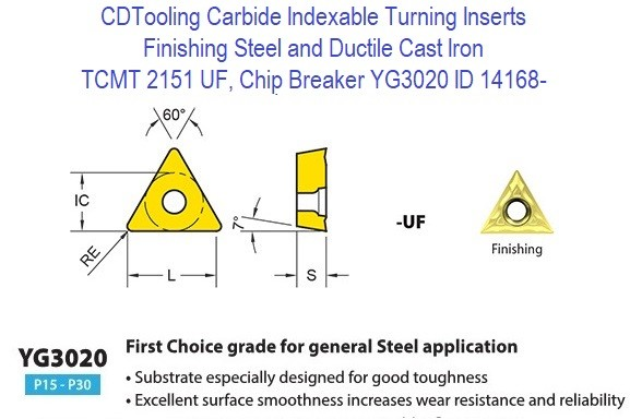 TCMT 2151, UF, Chip Breaker, Grade YG3020, Carbide Insert for Finishing Steels, Ductile Cast Iron - 10 Pack ID 14168-