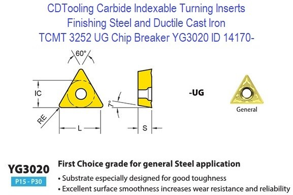TCMT 3252, UG Chip Breaker, Grade YG3020, Carbide Insert for Finishing Steels, Ductile Cast Iron - 10 Pack ID 14170-