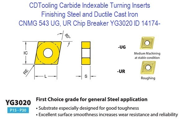 CNMG 543, UG, UR Chip Breaker, Grade YG3020, Carbide Insert for Finishing Steels, Ductile Cast Iron - 10 Pack ID 14174-