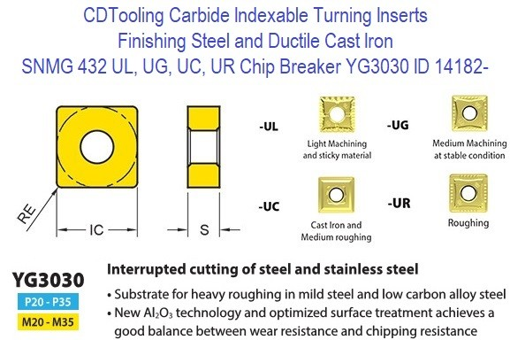 SNMG 432, UL, UG, UC, UR Chip Breaker, Grade YG3030, Carbide Insert for Finishing Steels, Ductile Cast Iron - 10 Pack ID 14182-