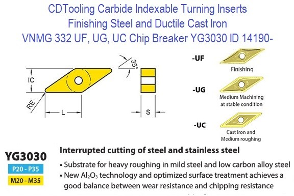 VNMG 332, UF, UG, UC Chip Breaker, Grade YG3030, Carbide Insert for Finishing Steels, Ductile Cast Iron - 10 Pack ID 14190-