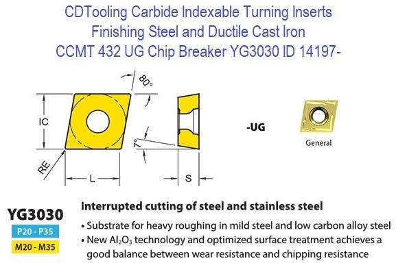 CCMT 432, UG Chip Breaker, Grade YG3030, Carbide Insert for Finishing Steels, Ductile Cast Iron - 10 Pack ID 14197-