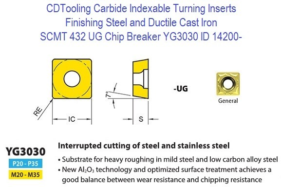 SCMT 432,UG,  Chip Breaker, Grade YG3030, Carbide Insert for Finishing Steels, Ductile Cast Iron - 10 Pack ID 14200-