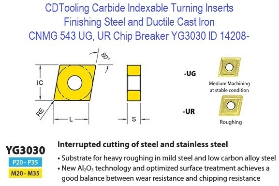 CNMG 543, UG, UR Chip Breaker, Grade YG3030, Carbide Insert for Finishing Steels, Ductile Cast Iron - 10 Pack ID 14208-