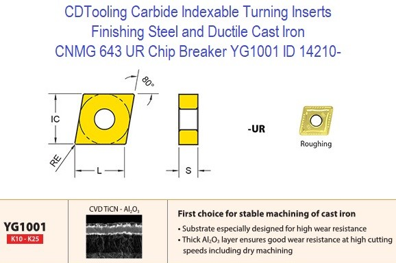 CNMG 643, UR Chip Breaker, Grade YG1001, Carbide Insert for Finishing Steels, Ductile Cast Iron - 10 Pack  ID 14210-