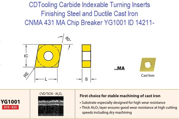 CNMA 431, MA Chip Breaker, Grade YG1001, Carbide Insert for Finishing Steels, Ductile Cast Iron - 10 Pack ID 14211-