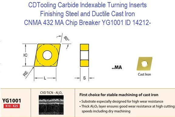 CNMA 432, MA Chip Breaker, Grade YG1001, Carbide Insert for Finishing Steels, Ductile Cast Iron - 10 Pack ID 14212-