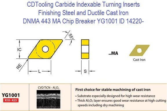 DNMA 443, MA Chip Breaker, Grade YG1001, Carbide Insert for Finishing Steels, Ductile Cast Iron - 10 Pack ID 14220-
