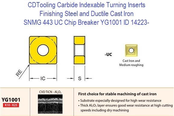 SNMG 433, UC Chip Breaker, Grade YG1001, Carbide Insert for Finishing Steels, Ductile Cast Iron - 10 Pack ID 14223-