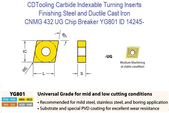 CNMG 432, UG Chip Breaker, Grade YG801, Carbide Insert for Finishing Steels, Ductile Cast Iron ID 14245-