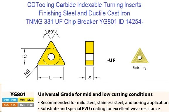 TNMG 331, UF Chip Breaker, Grade YG801, Carbide Insert for Finishing Steels, Ductile Cast Iron - 10 Pack ID 14254-