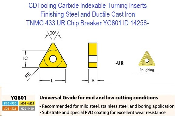 TNMG 433, UR Chip Breaker, Grade YG801, Carbide Insert for Finishing Steels, Ductile Cast Iron - 10 Pack ID 14258-