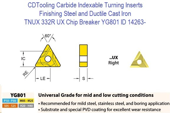 TNUX 332R, UX Chip Breaker, Grade YG801, Carbide Insert for Finishing Steels, Ductile Cast Iron - 10 Pack ID 14263-