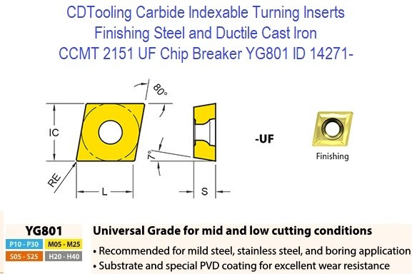 CCMT 2151, UF Chip Breaker, Grade YG801, Carbide Insert for Finishing Steels, Ductile Cast Iron - 10 Pack ID 14271-
