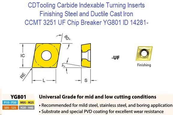 CCMT 3251, UF Chip Breaker, Grade YG801, Carbide Insert for Finishing Steels, Ductile Cast Iron - 10 Pack ID 14281-