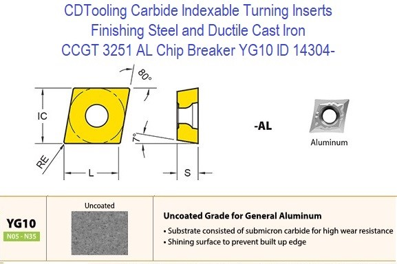 CCGT 3251 AL Chip Breaker, Grade YG10, Carbide Insert for Finishing Steels, Ductile Cast Iron - 10 Pack ID 14304-