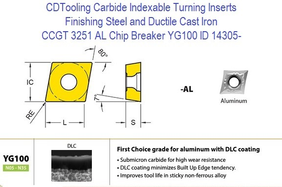 CCGT 3251 AL Chip Breaker, Grade YG100, Carbide Insert for Finishing Steels, Ductile Cast Iron - 10 Pack ID 14305-