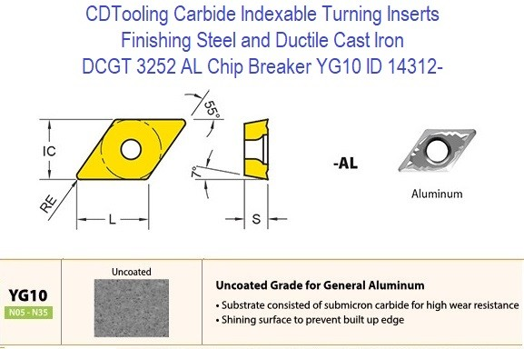 DCGT 3252 AL Chip Breaker, Grade YG10, Carbide Insert for Finishing Steels, Ductile Cast Iron - 10 Pack ID 14312-