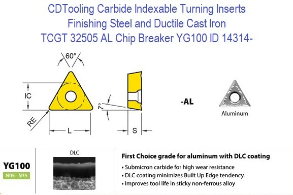 TCGT 32505 AL Chip Breaker, Grade YG100, Carbide Insert for Finishing Steels, Ductile Cast Iron - 10 Pack ID 14314-