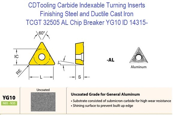 TCGT 32505 AL Chip Breaker, Grade YG10, Carbide Insert for Finishing Steels, Ductile Cast Iron - 10 Pack ID 14315-