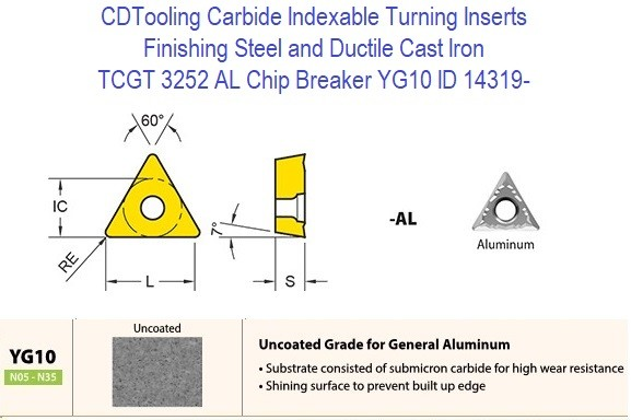TCGT 3252 AL Chip Breaker, Grade YG10, Carbide Insert for Finishing Steels, Ductile Cast Iron - 10 Pack ID 14319-