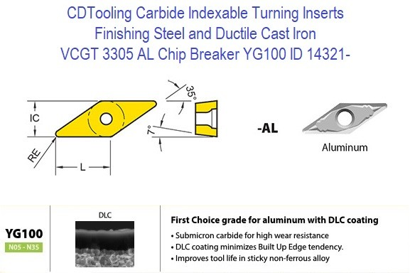 VCGT 3305 AL Chip Breaker, Grade YG100, Carbide Insert for Finishing Steels, Ductile Cast Iron - 10 Pack ID 14321-