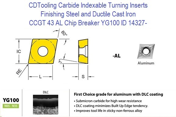 CCGT 43 AL Chip Breaker, Grade YG100, Carbide Insert for Finishing Steels, Ductile Cast Iron - 10 Pack ID 14327-