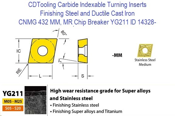 CNMG 432, MM, MR Chip Breaker, Grade YG211, Carbide Insert for Finishing Steels, Ductile Cast Iron ID 14328-