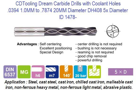 .0394 1.0MM to .7874 20MM Diameter DH408 5x Diameter Carbide Drill with Coolant Holes, Steel, Cast Iron, Non Ferrous, Plastics, Abrasive Materials ID 1478-