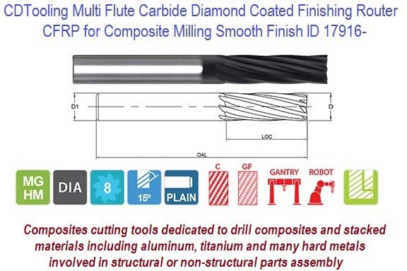 CFRP for Composite Milling Smooth Finish Carbide Diamond Coated Finishing Router ID 17916-
